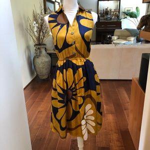 Maeve 100% Silk Blue/Yellow Floral Mini Dress